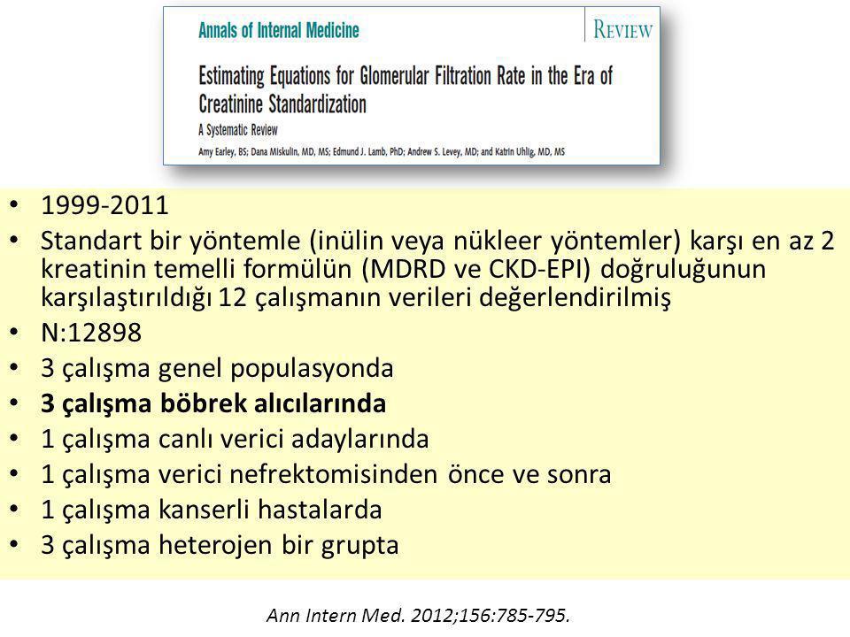 1999-2011 Standart bir yöntemle (inülin veya nükleer yöntemler) karşı en az 2 kreatinin temelli formülün (MDRD ve CKD-EPI) doğruluğunun karşılaştırıldığı 12 çalışmanın verileri değerlendirilmiş N:12898 3 çalışma genel populasyonda 3 çalışma böbrek alıcılarında 1 çalışma canlı verici adaylarında 1 çalışma verici nefrektomisinden önce ve sonra 1 çalışma kanserli hastalarda 3 çalışma heterojen bir grupta Ann Intern Med.