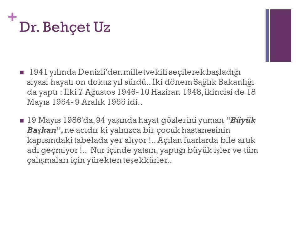 + Dr. Behçet Uz 1941 yılında Denizli'den milletvekili seçilerek ba ş ladı ğ ı siyasi hayatı on dokuz yıl sürdü.. İ ki dönem Sa ğ lık Bakanlı ğ ı da ya
