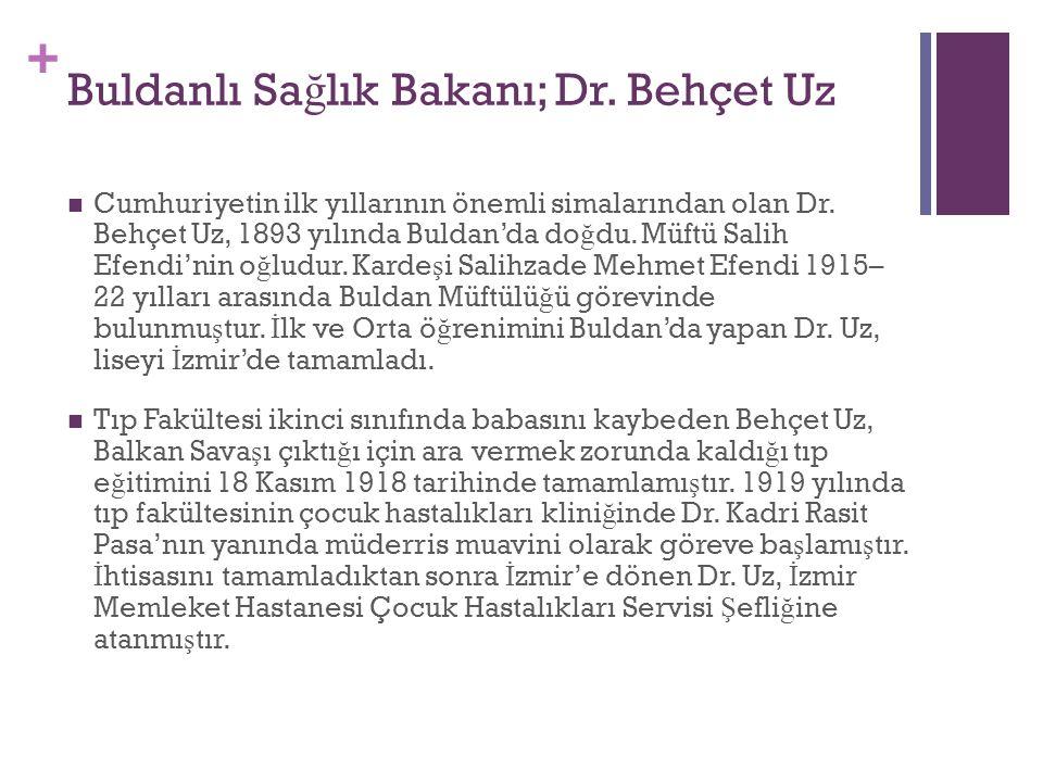 + Buldanlı Sa ğ lık Bakanı; Dr. Behçet Uz Cumhuriyetin ilk yıllarının önemli simalar  ından olan Dr. Behçet Uz, 1893 yılında Buldan'da do ğ du. Müftü