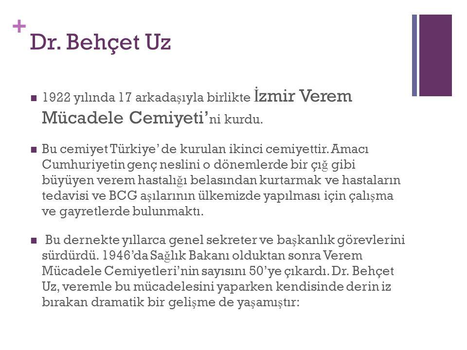 + Dr. Behçet Uz 1922 yı  l  ında 17 arkada ş ıyla birlikte İ zmir Verem Mücadele Cemiyeti' ni kurdu. Bu cemiyet Türkiye' de kurulan ikinci cemiyetti