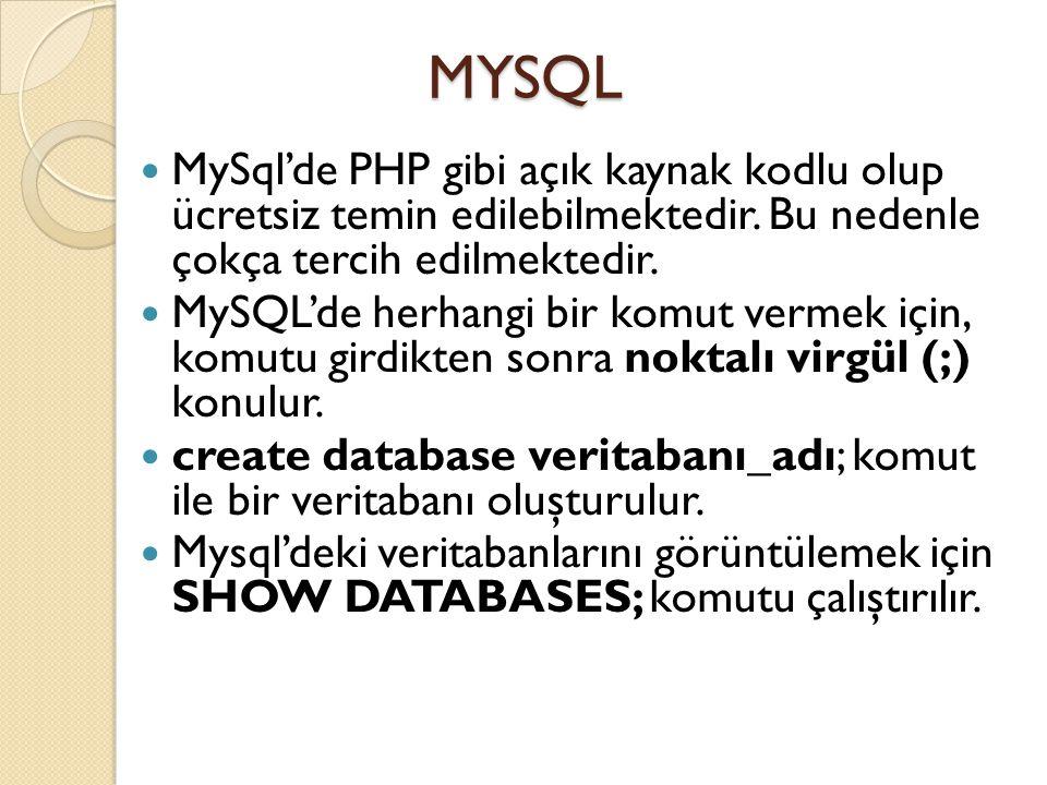 MYSQL MySql'de PHP gibi açık kaynak kodlu olup ücretsiz temin edilebilmektedir.