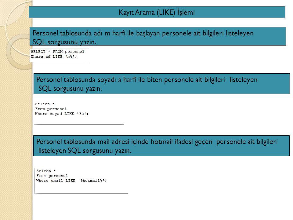 Kayıt Arama (LIKE) İ şlemi Personel tablosunda adı m harfi ile başlayan personele ait bilgileri listeleyen SQL sorgusunu yazın.