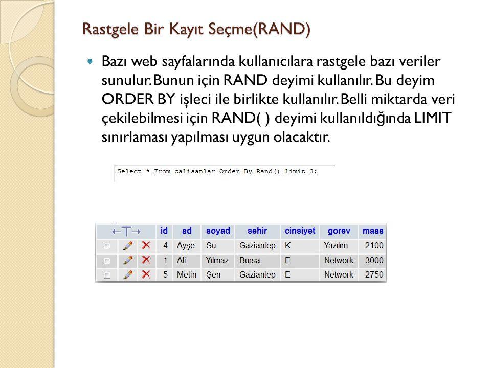 Rastgele Bir Kayıt Seçme(RAND) Bazı web sayfalarında kullanıcılara rastgele bazı veriler sunulur.