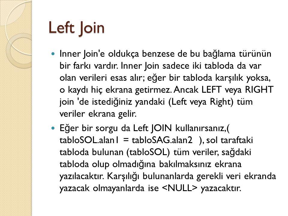 Left Join Inner Join e oldukça benzese de bu ba ğ lama türünün bir farkı vardır.