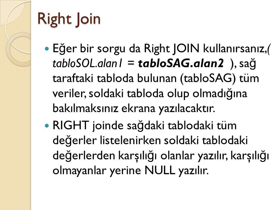 Right Join E ğ er bir sorgu da Right JOIN kullanırsanız,( tabloSOL.alan1 = tabloSAG.alan2 ), sa ğ taraftaki tabloda bulunan (tabloSAG) tüm veriler, soldaki tabloda olup olmadı ğ ına bakılmaksınız ekrana yazılacaktır.