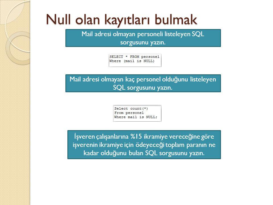 Null olan kayıtları bulmak Mail adresi olmayan personeli listeleyen SQL sorgusunu yazın.