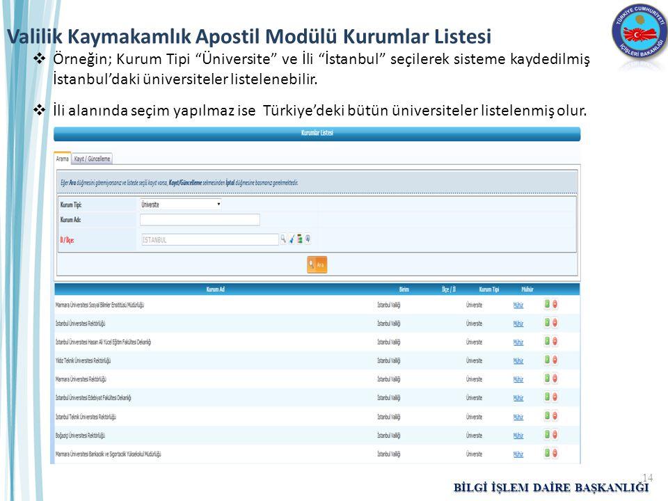 """BİLGİ İŞLEM DAİRE BAŞKANLIĞI  Örneğin; Kurum Tipi """"Üniversite"""" ve İli """"İstanbul"""" seçilerek sisteme kaydedilmiş İstanbul'daki üniversiteler listeleneb"""