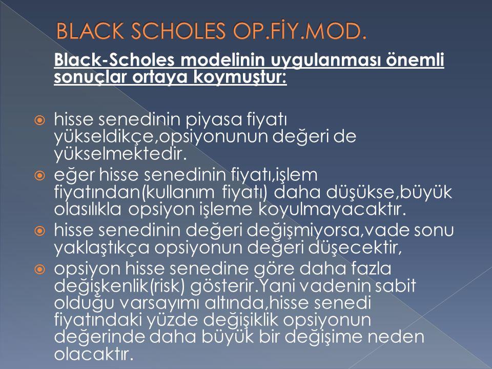 Black-Scholes modelinin uygulanması önemli sonuçlar ortaya koymuştur:  hisse senedinin piyasa fiyatı yükseldikçe,opsiyonunun değeri de yükselmektedir