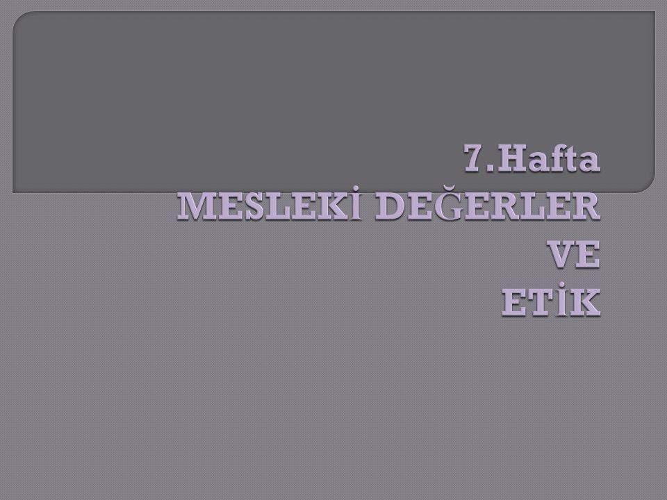 Selimo ğ lu Tesmer Ders Notu 2009 12 Bir işi meslek yapan üç önemli vazgeçilmez unsur vardır ki bunlar;  Belge,  Uygulama standartları ve etik kuralları ile  Mesleki örgütünün bulunması bir i ş e mesleki de ğ er kazandırmaktadır.