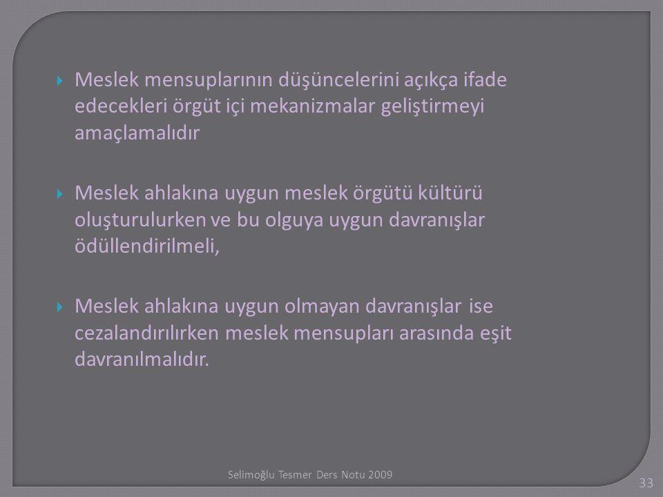 Selimo ğ lu Tesmer Ders Notu 2009 33  Meslek mensuplarının düşüncelerini açıkça ifade edecekleri örgüt içi mekanizmalar geliştirmeyi amaçlamalıdır 