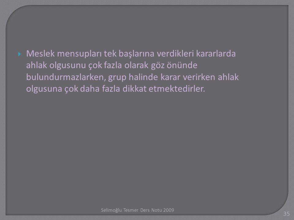 Selimo ğ lu Tesmer Ders Notu 2009 35  Meslek mensupları tek başlarına verdikleri kararlarda ahlak olgusunu çok fazla olarak göz önünde bulundurmazlar