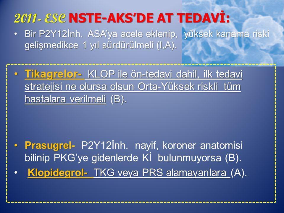 2011- ESC NSTE-AKS'DE AT TEDAVİ: Bir P2Y12İnh.