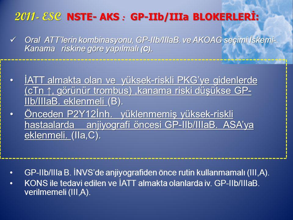 2011- ESC NSTE- AKS : GP-IIb/IIIa BLOKERLERİ: 2011- ESC NSTE- AKS : GP-IIb/IIIa BLOKERLERİ: Oral ATT'lerin kombinasyonu, GP-IIb/IIIaB.