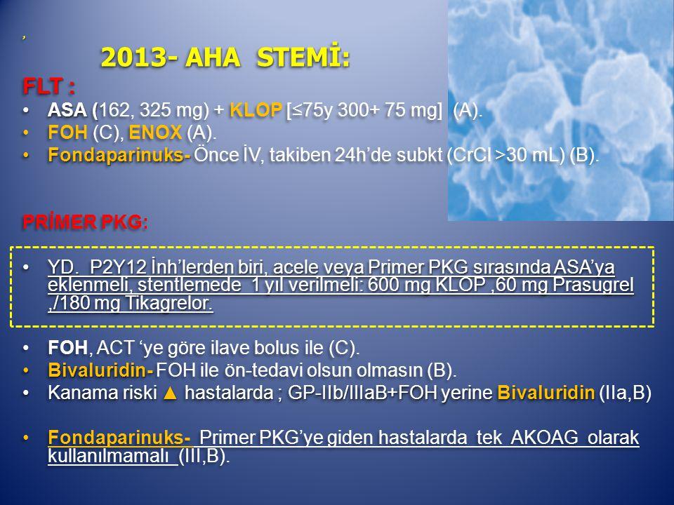, 2013- AHA STEMİ: 2013- AHA STEMİ: FLT : ASA (ASA (162, 325 mg) + KLOP [≤75y 300+ 75 mg] (A).