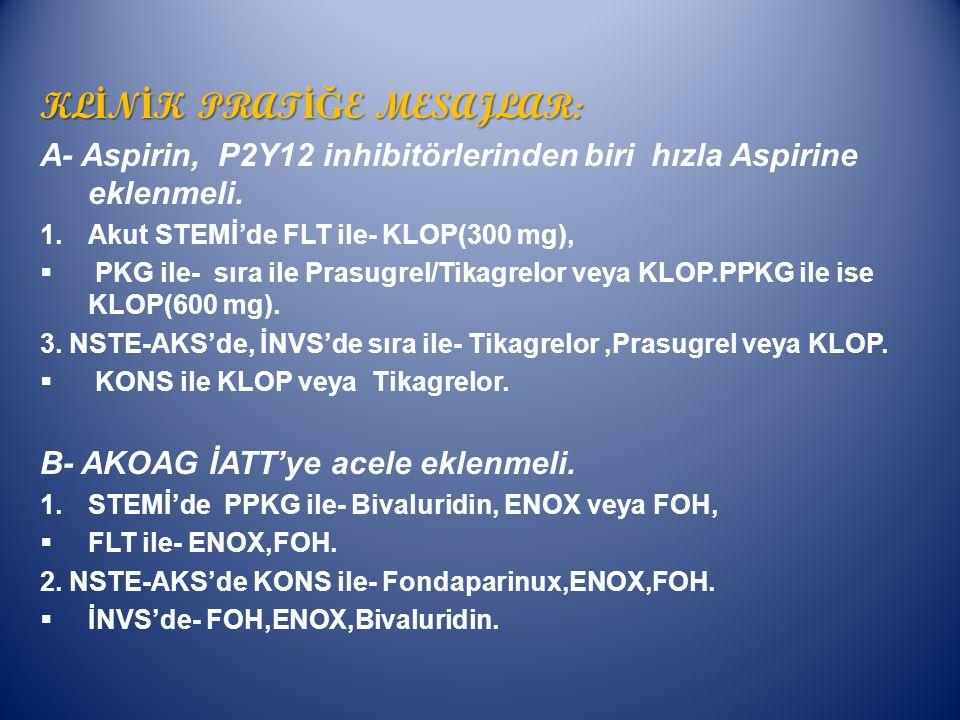 KL İ N İ K PRAT İĞ E MESAJLAR: A- Aspirin, P2Y12 inhibitörlerinden biri hızla Aspirine eklenmeli.