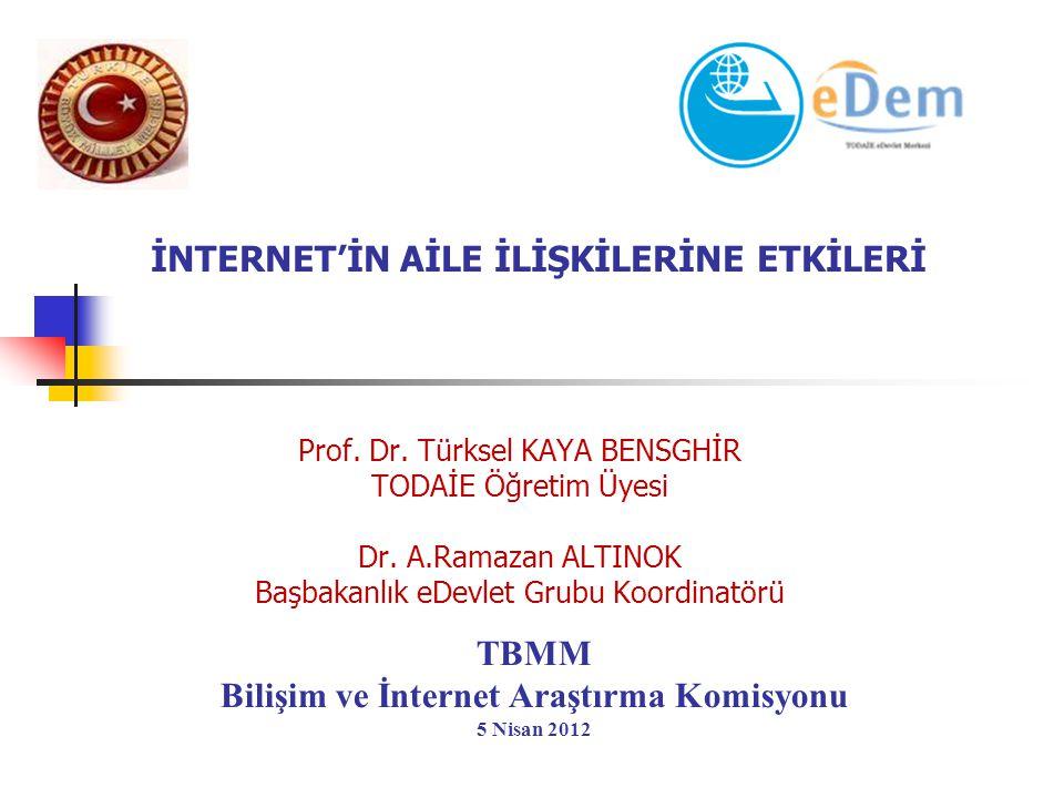 İNTERNET'İN AİLE İLİŞKİLERİNE ETKİLERİ Prof. Dr. Türksel KAYA BENSGHİR TODAİE Öğretim Üyesi Dr. A.Ramazan ALTINOK Başbakanlık eDevlet Grubu Koordinatö