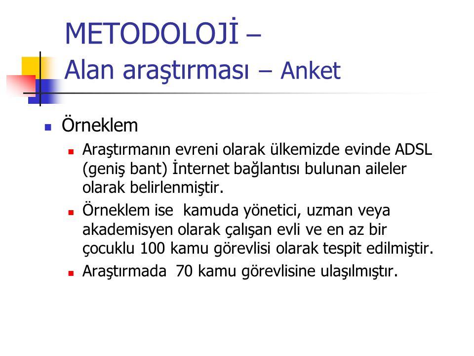 METODOLOJİ – Alan araştırması – Anket Örneklem Araştırmanın evreni olarak ülkemizde evinde ADSL (geniş bant) İnternet bağlantısı bulunan aileler olara