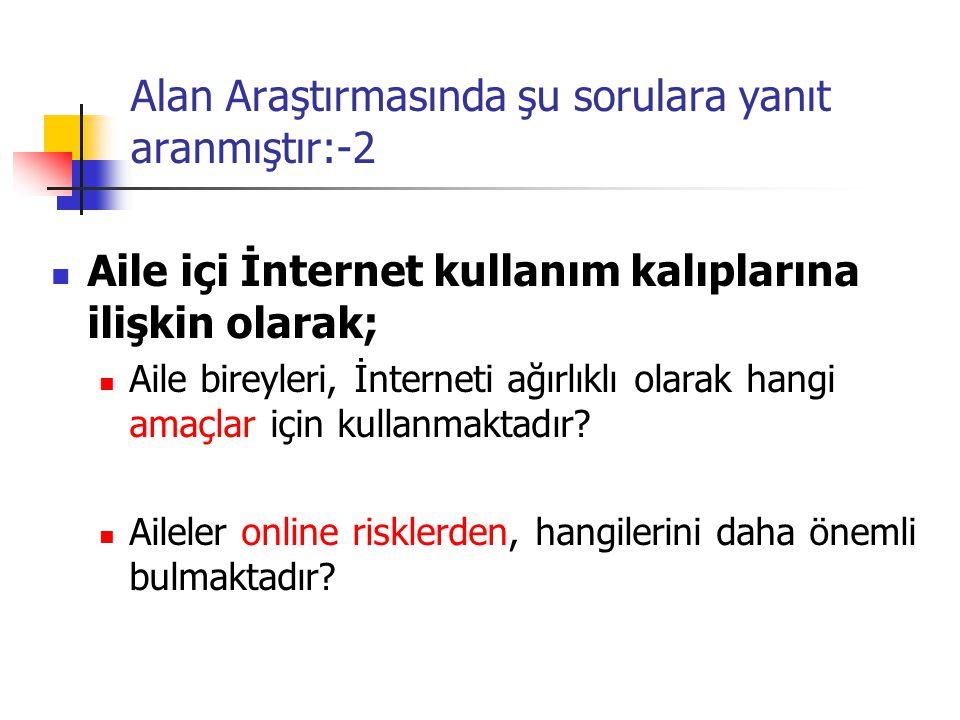 Alan Araştırmasında şu sorulara yanıt aranmıştır:-2 Aile içi İnternet kullanım kalıplarına ilişkin olarak; Aile bireyleri, İnterneti ağırlıklı olarak