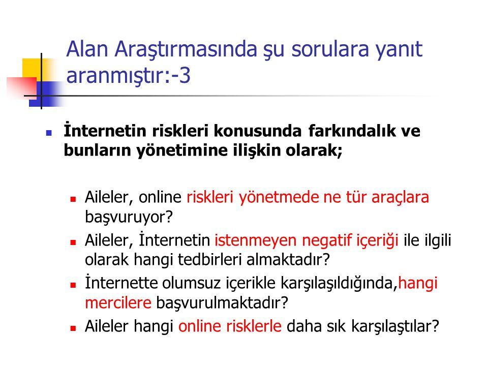Alan Araştırmasında şu sorulara yanıt aranmıştır:-3 İnternetin riskleri konusunda farkındalık ve bunların yönetimine ilişkin olarak; Aileler, online r