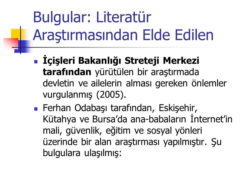 Bulgular: Literatür Araştırmasından Elde Edilen İçişleri Bakanlığı Streteji Merkezi tarafından yürütülen bir araştırmada devletin ve ailelerin alması