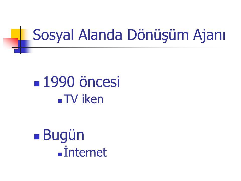 Sosyal Alanda Dönüşüm Ajanı 1990 öncesi TV iken Bugün İnternet
