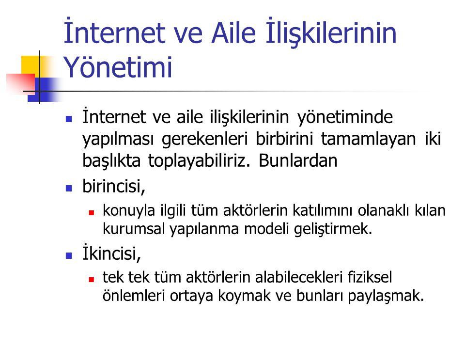 İnternet ve Aile İlişkilerinin Yönetimi İnternet ve aile ilişkilerinin yönetiminde yapılması gerekenleri birbirini tamamlayan iki başlıkta toplayabili
