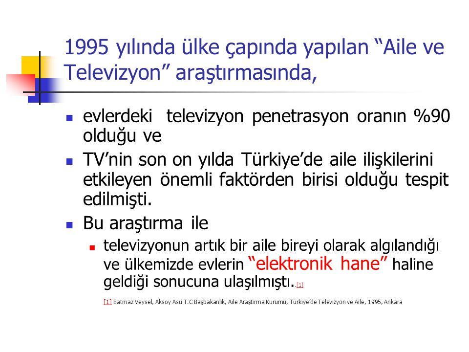 """1995 yılında ülke çapında yapılan """"Aile ve Televizyon"""" araştırmasında, evlerdeki televizyon penetrasyon oranın %90 olduğu ve TV'nin son on yılda Türki"""