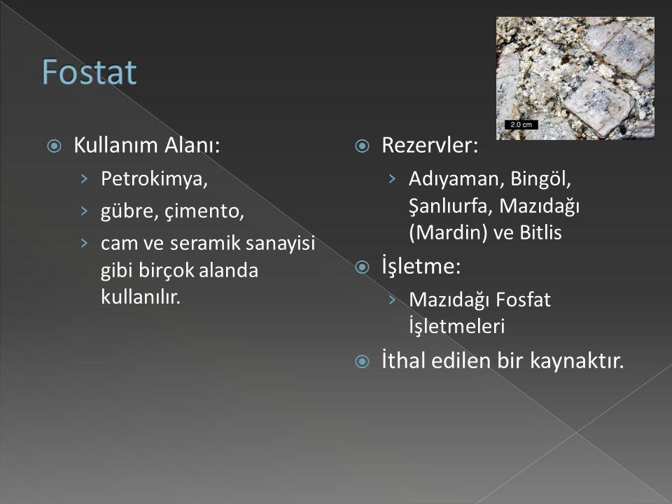  Kullanım Alanı: › Petrokimya, › gübre, çimento, › cam ve seramik sanayisi gibi birçok alanda kullanılır.