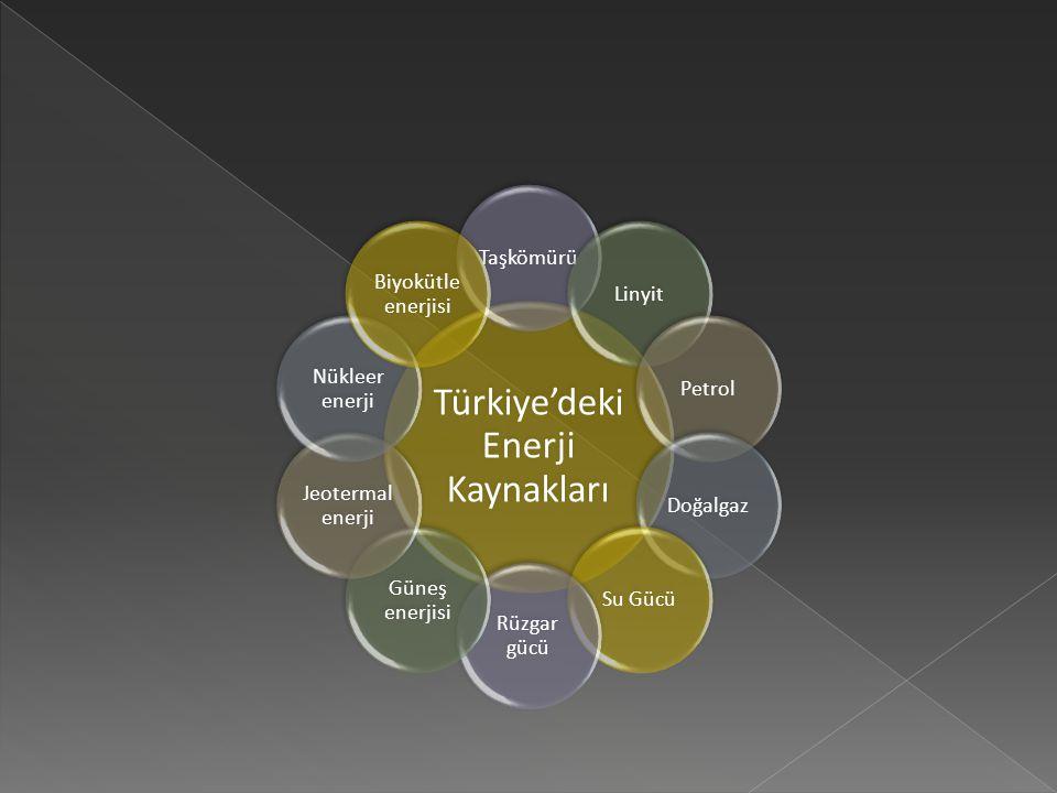 Türkiye'deki Enerji Kaynakları TaşkömürüLinyitPetrolDoğalgazSu Gücü Rüzgar gücü Güneş enerjisi Jeotermal enerji Nükleer enerji Biyokütle enerjisi