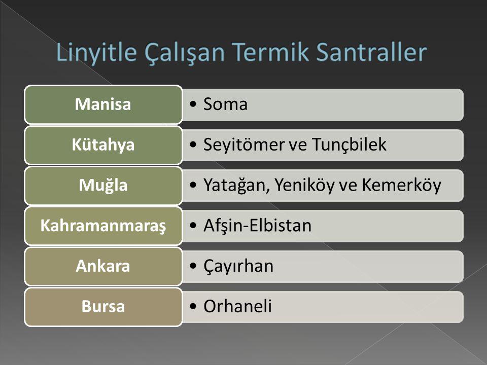 Soma Manisa Seyitömer ve Tunçbilek Kütahya Yatağan, Yeniköy ve Kemerköy Muğla Afşin-Elbistan Kahramanmaraş Çayırhan Ankara Orhaneli Bursa