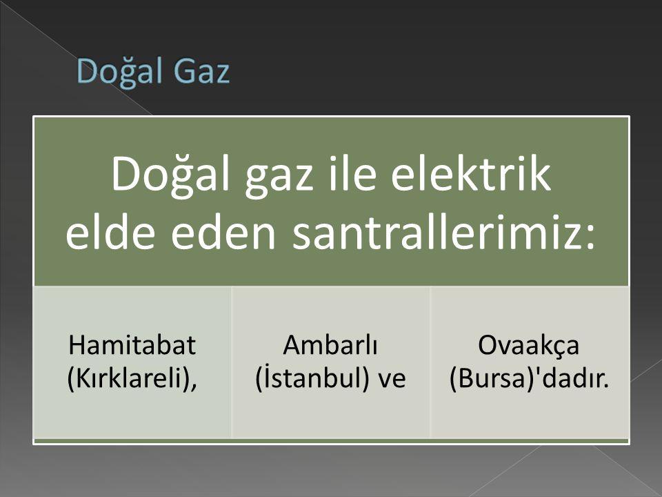 Doğal gaz ile elektrik elde eden santrallerimiz: Hamitabat (Kırklareli), Ambarlı (İstanbul) ve Ovaakça (Bursa) dadır.