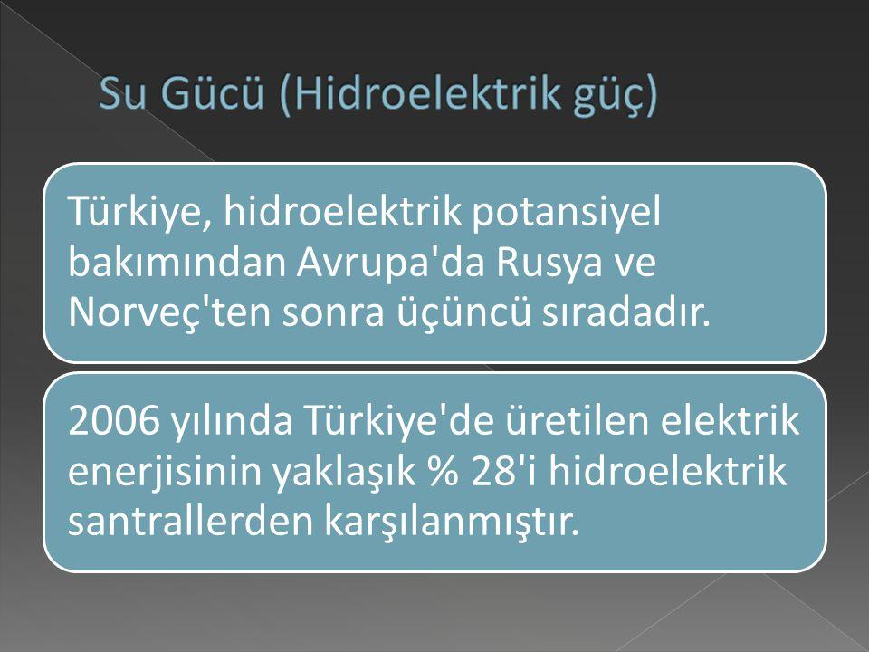 Türkiye, hidroelektrik potansiyel bakımından Avrupa da Rusya ve Norveç ten sonra üçüncü sıradadır.