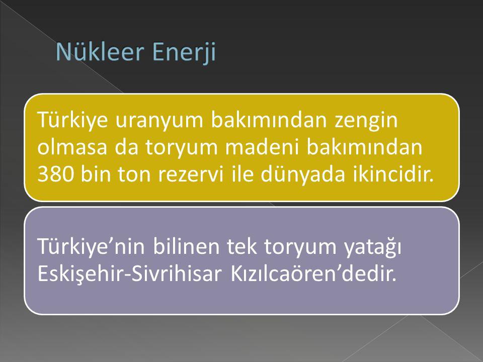 Türkiye uranyum bakımından zengin olmasa da toryum madeni bakımından 380 bin ton rezervi ile dünyada ikincidir.