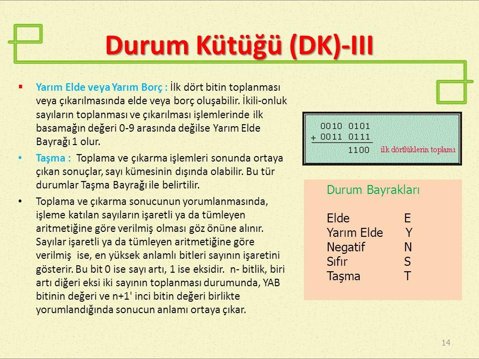 Durum Kütüğü (DK)-III  Yarım Elde veya Yarım Borç : İlk dört bitin toplanması veya çıkarılmasında elde veya borç oluşabilir. İkili-onluk sayıların to