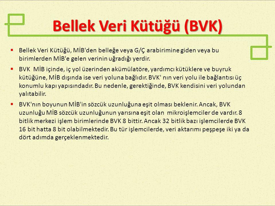 Bellek Veri Kütüğü (BVK)  Bellek Veri Kütüğü, MİB'den belleğe veya G/Ç arabirimine giden veya bu birimlerden MİB'e gelen verinin uğradığı yerdir.  B