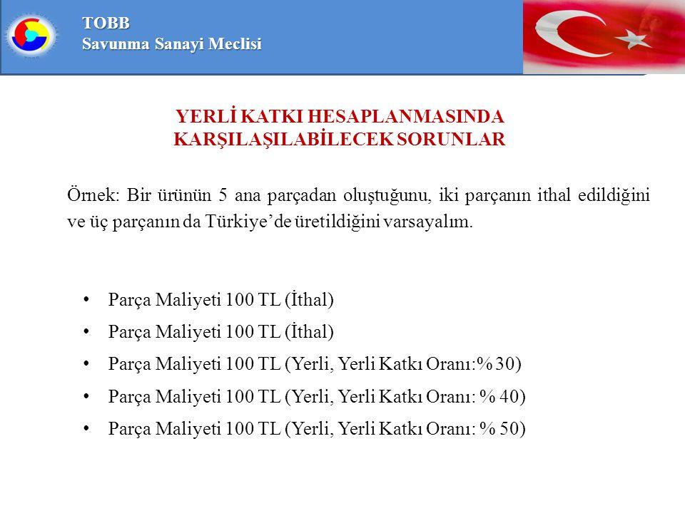 TOBB Savunma Sanayi Meclisi Örnek: Bir ürünün 5 ana parçadan oluştuğunu, iki parçanın ithal edildiğini ve üç parçanın da Türkiye'de üretildiğini varsayalım.