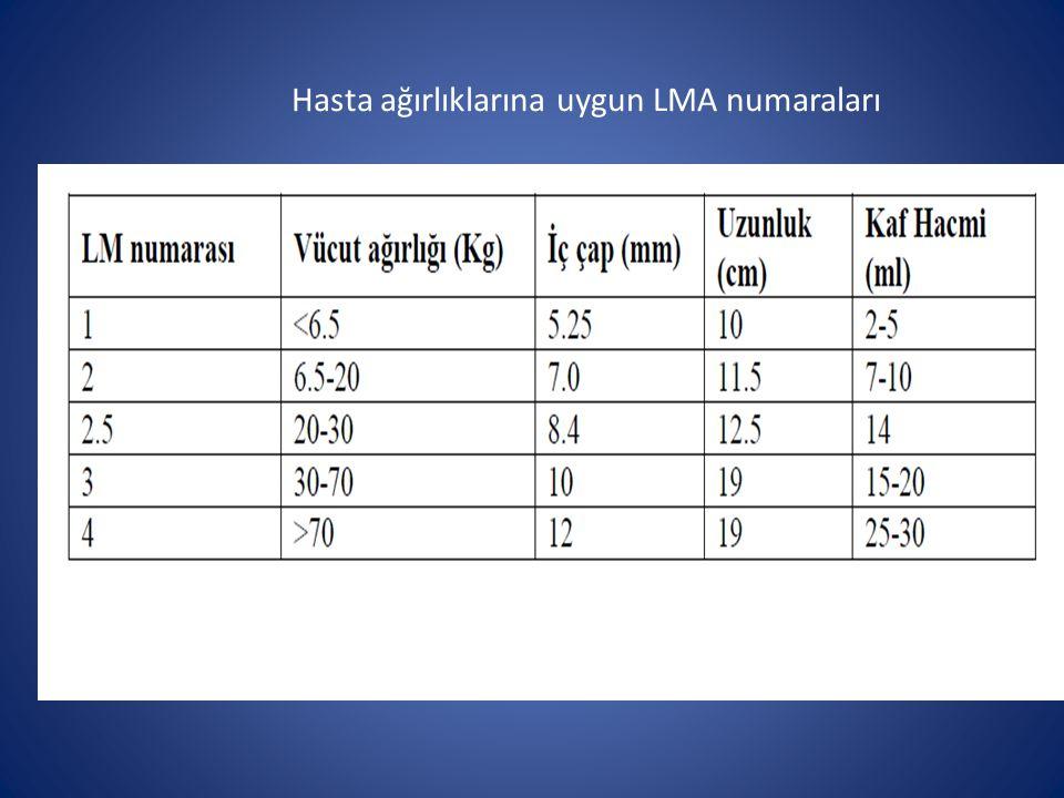 Hasta ağırlıklarına uygun LMA numaraları