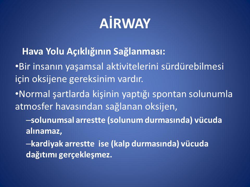 AİRWAY Hava Yolu Açıklığının Sağlanması: Bir insanın yaşamsal aktivitelerini sürdürebilmesi için oksijene gereksinim vardır. Normal şartlarda kişinin
