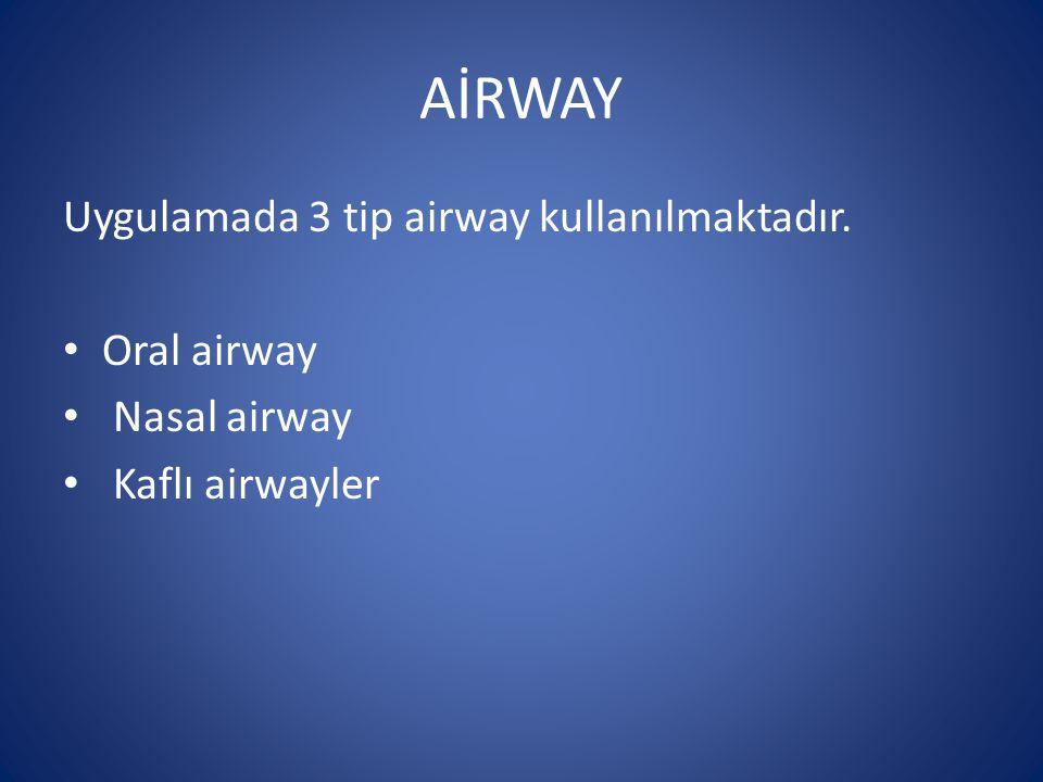 AİRWAY Uygulamada 3 tip airway kullanılmaktadır. Oral airway Nasal airway Kaflı airwayler