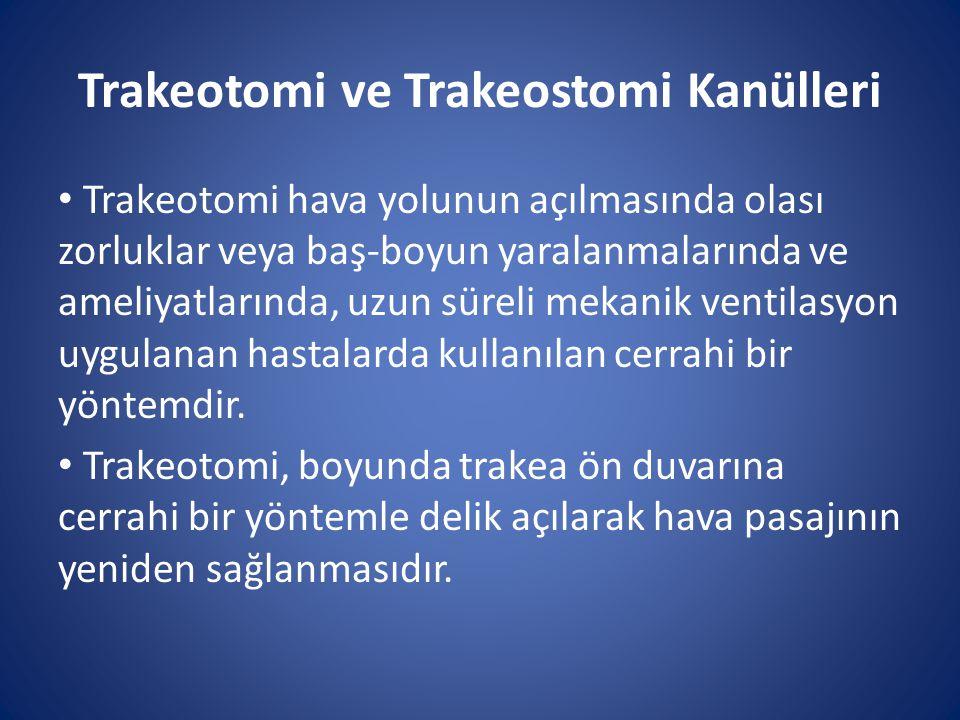 Trakeotomi ve Trakeostomi Kanülleri Trakeotomi hava yolunun açılmasında olası zorluklar veya baş-boyun yaralanmalarında ve ameliyatlarında, uzun sürel