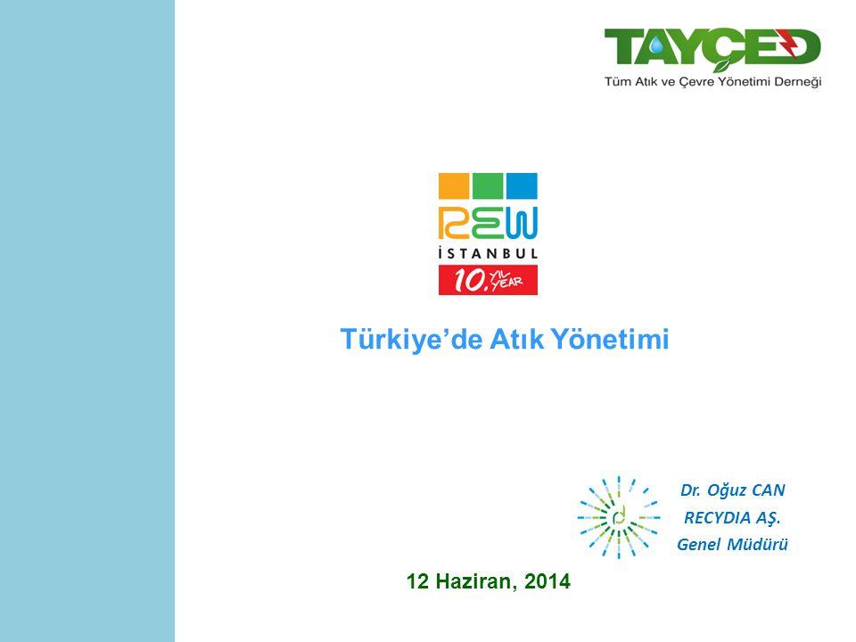 Türkiye'de Atık Yönetimi 12 Haziran, 2014 Dr. Oğuz CAN RECYDIA AŞ. Genel Müdürü