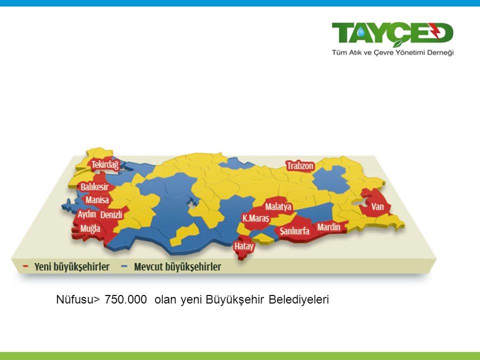 Nüfusu> 750.000 olan yeni Büyükşehir Belediyeleri