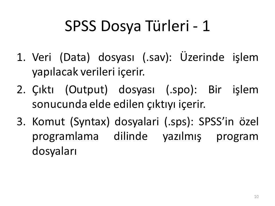 SPSS Dosya Türleri - 1 1.Veri (Data) dosyası (.sav): Üzerinde işlem yapılacak verileri içerir.