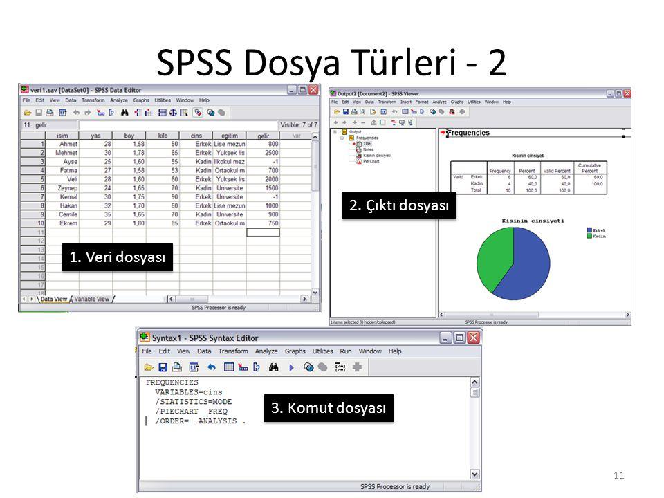 SPSS Dosya Türleri - 2 1. Veri dosyası 2. Çıktı dosyası 3. Komut dosyası 11