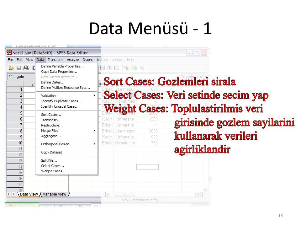Data Menüsü - 1 13