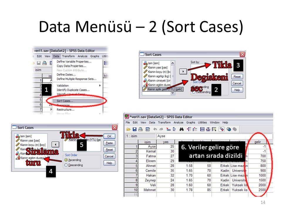 Data Menüsü – 2 (Sort Cases) 14 1 1 2 2 3 3 4 4 5 5 6.