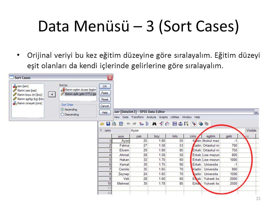 Data Menüsü – 3 (Sort Cases) Orijinal veriyi bu kez eğitim düzeyine göre sıralayalım.