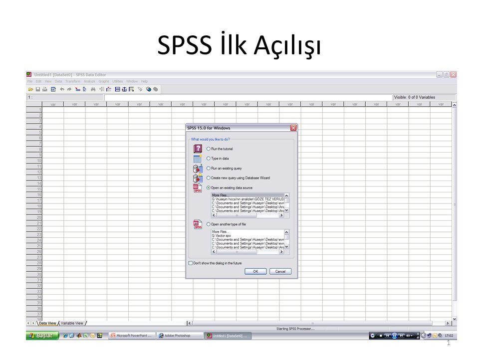 SPSS İlk Açılışı 1