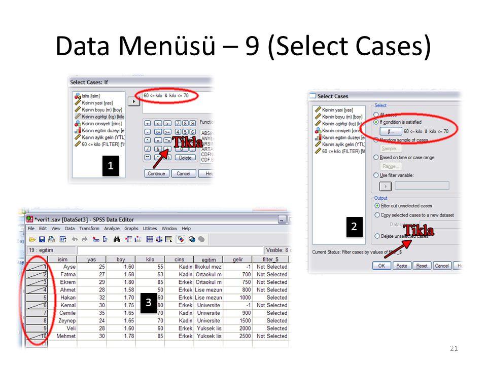 Data Menüsü – 9 (Select Cases) 21 1 1 2 2 3 3