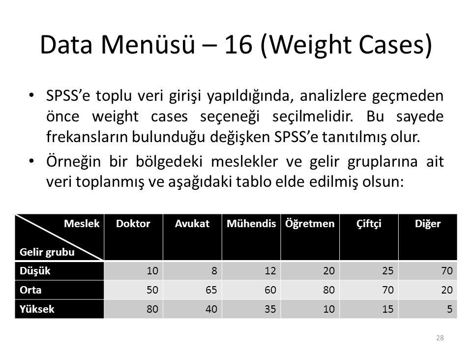 Data Menüsü – 16 (Weight Cases) SPSS'e toplu veri girişi yapıldığında, analizlere geçmeden önce weight cases seçeneği seçilmelidir.